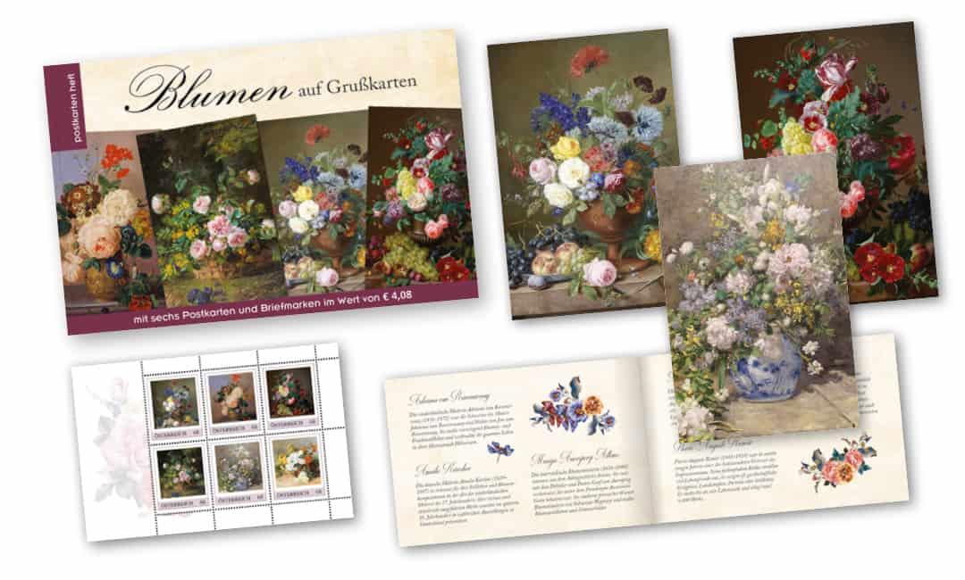 Postkartenheft: Blumen auf Grußkarten